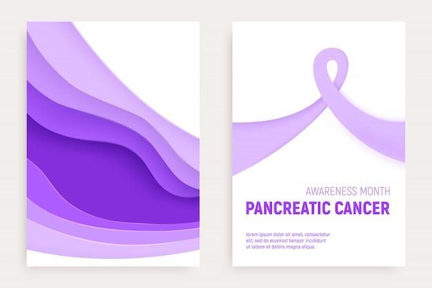 Koncepcja cięcia papieru miesiąc świadomości raka trzustki. papierowa wstążka fioletowa - listopadowa opieka zdrowotna. międzynarodowa kampania zdrowotna dla ludzi.