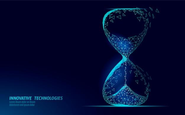 Koncepcja ciemnego czasu klepsydry. ostateczny termin teraźniejszości i minionych godzin minął. wartość przepływu strumienia czasu. ilustracja harmonogram kreatywnych pomysłów na możliwości.