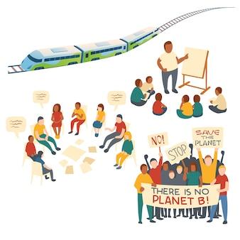 Koncepcja clipart edukacji dzieci, dyskusji, akcji protestacyjnej i transportu ekologicznego. kreskówka zestaw ludzi z banerami save planet, pociąg z szynami, spotkanie ludzi i dzieci z nauczycielem