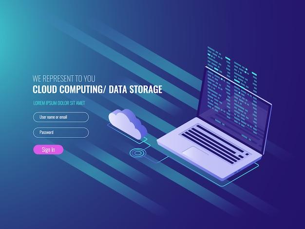 Koncepcja cloud computing, otwarty laptop z ikoną chmurki i kod programu na piargu