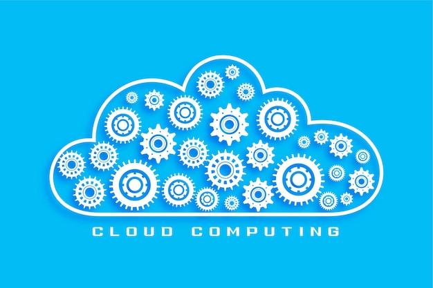 Koncepcja cloud computing z symbolami kół zębatych