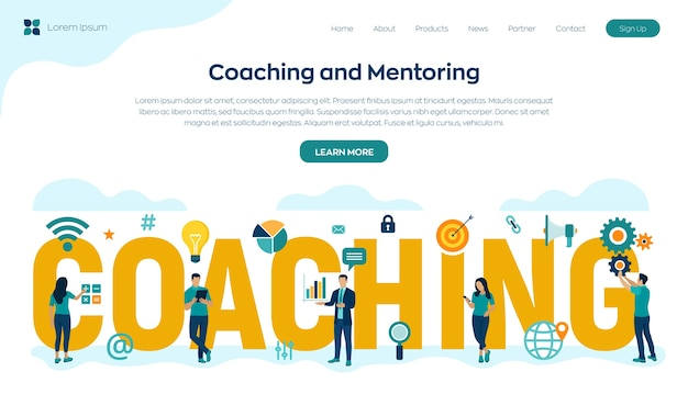 Koncepcja coachingu i mentoringu. rozwój osobisty. edukacja i e-learning. webinar, szkolenia online. edukacja korporacyjna.