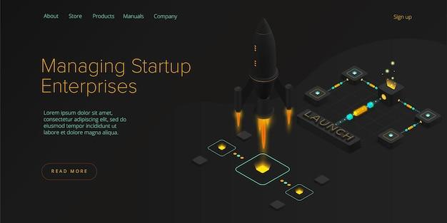 Koncepcja coachingu i mentoringu startupów w ilustracji izometrycznej.