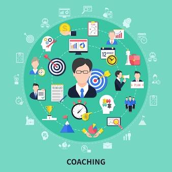 Koncepcja coachingu i szkolenia z płaską ilustracją symboli burzy mózgów i postępu