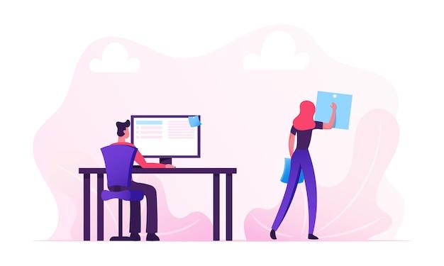 Koncepcja codziennych rutynowych pracowników biurowych. płaskie ilustracja kreskówka