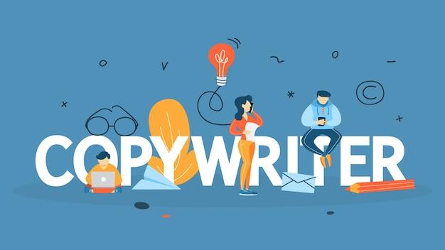Koncepcja copywritera. pisanie kreatywnego artykułu na blogu. promocja w mediach społecznościowych. praca niezależna. ilustracja