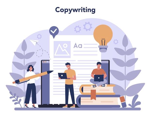 Koncepcja copywritera w płaskiej konstrukcji