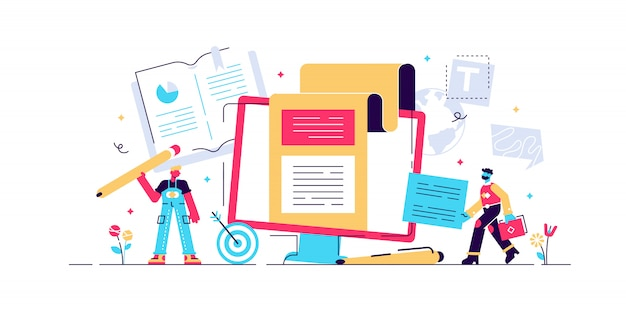 Koncepcja copywriting dla strony internetowej, baneru, prezentacji, mediów społecznościowych, dokumentów, kart, plakatów. ilustracja