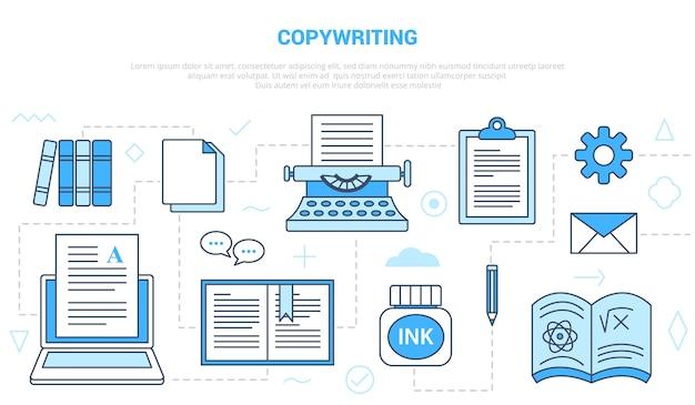 Koncepcja copywritingu lub copywitera z szablonem zestawu ikon w nowoczesnym stylu niebieskim