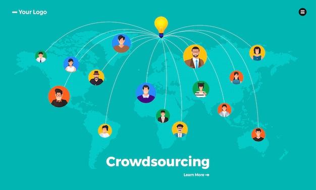 Koncepcja crowdsourcingu. zilustrować.