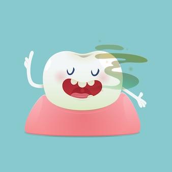Koncepcja cuchnący ząb kreskówki z nieświeżym oddechem
