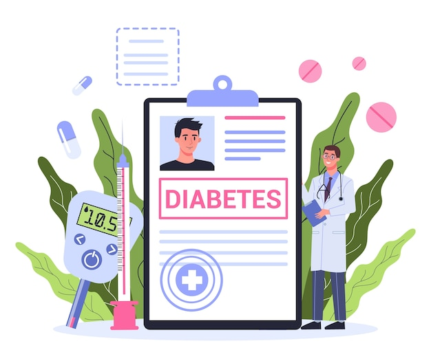 Koncepcja cukrzycy. pomiar poziomu cukru we krwi za pomocą glukometru. lekarz z diagnozą. idea opieki zdrowotnej i leczenia.