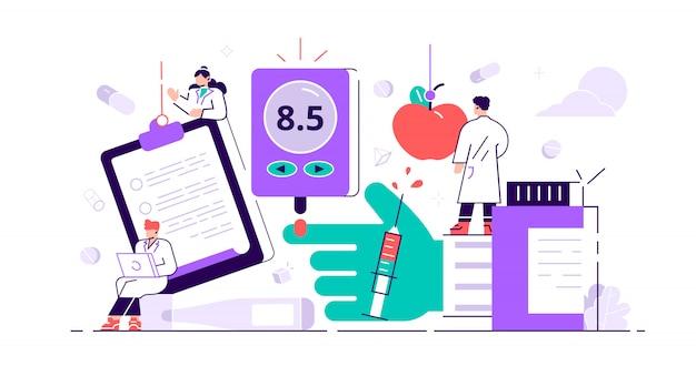 Koncepcja cukrzycy. wysoki poziom cukru we krwi. leczenie choroby za pomocą stylu życia z iniekcją insuliny. świadomość problemów i sprawdzanie sprzętu lub terapii kontroli diety. mała płaska ilustracja