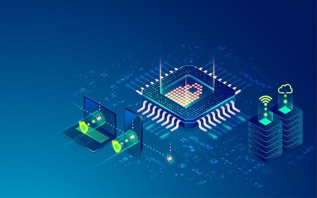 Koncepcja cyberbezpieczeństwa lub centrum danych, grafika mikroprocesora z futurystycznym systemem technologicznym technology