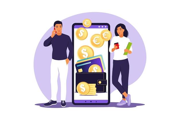 Koncepcja cyfrowego portfela. młodzi ludzie płacą kartą za pomocą płatności mobilnych.