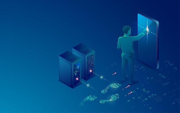 Koncepcja cyfrowego śladu, grafika kształtu śladu połączona z futurystycznym wzorem i elementem technologii cyfrowej