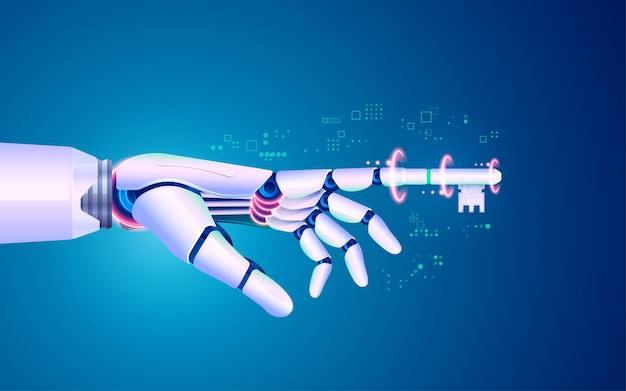 Koncepcja cyfrowej transformacji lub głębokiego uczenia, grafika dłoni robota z klawiszem palca wskazującego