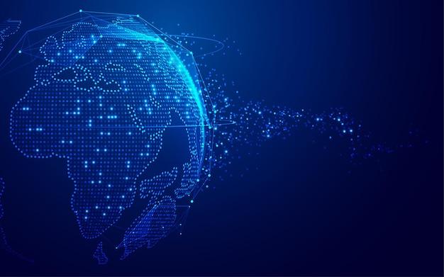 Koncepcja cyfrowej transformacji lub globalnej technologii sieciowej, grafika świata z futurystycznym elementem