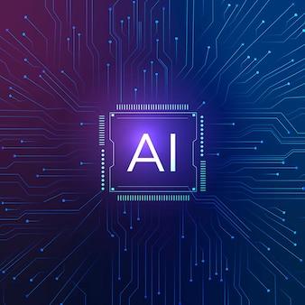 Koncepcja cyfrowej transformacji technologii ai microchip background vector