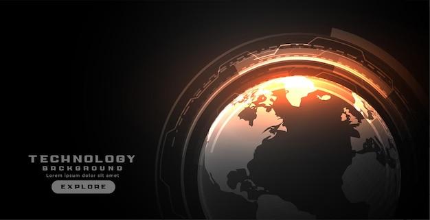 Koncepcja cyfrowej ziemi ze schematem obwodu