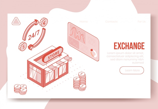 Koncepcja cyfrowy izometryczny projekt zestaw ikon 3d aplikacji wymiany walut obcych