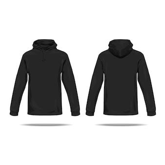 Koncepcja czarnej bluzy z kapturem z przodu iz tyłu