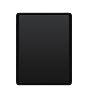 Koncepcja czarny tablet z przyciskami aparatu i dźwięku i zasilania. odizolowywający na przejrzystym tle, jakości ilustracja.