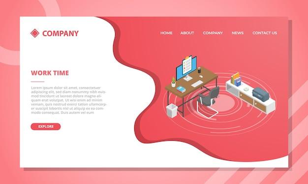 Koncepcja czasu pracy dla szablonu strony internetowej lub projektu strony głównej docelowej z ilustracją w stylu izometrycznym
