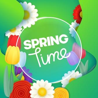 Koncepcja czasu wiosny. szablon wektor