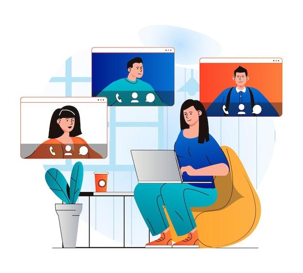 Koncepcja czatu wideo w nowoczesnej płaskiej konstrukcji kobieta komunikuje się przez grupowe połączenie wideo z przyjaciółmi