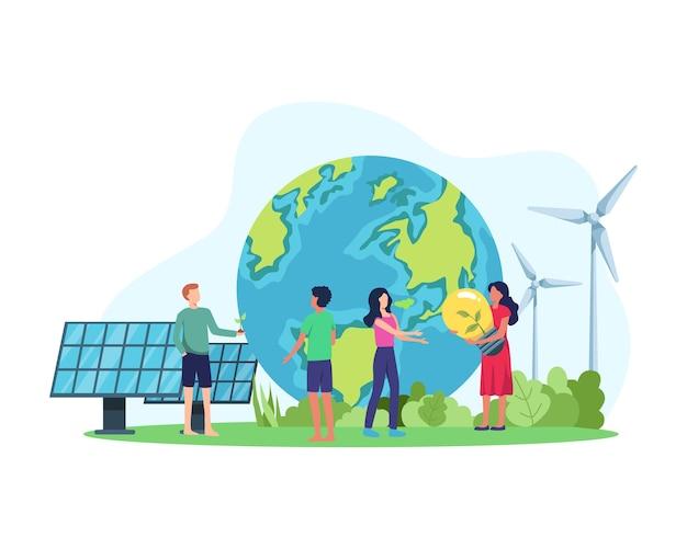 Koncepcja czystej energii. energia odnawialna dla lepszej przyszłości. ludzie z przyjazną dla środowiska energią, panelem słonecznym i turbiną wiatrową. w stylu płaskiej