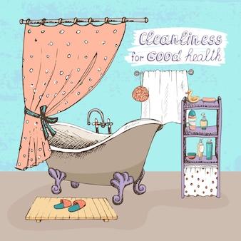 Koncepcja czystości dla dobrego zdrowia przedstawiająca wnętrze łazienki z wanną w stylu vintage z kulkami i szponami