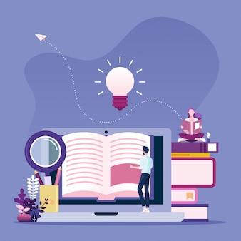Koncepcja czytania online. biznesmen czytanie książki online