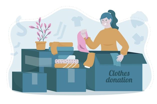 Koncepcja darowizny odzieży rysowane ręcznie