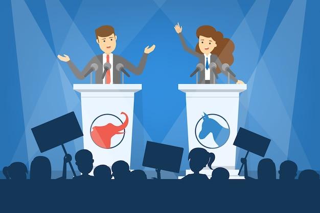Koncepcja debaty. kandydat na prezydenta na trybunie. przemówienie polityczne. wybory prezydenckie. ilustracja w stylu kreskówki
