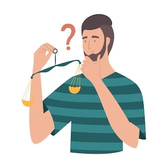 Koncepcja decyzji wagi człowieka. mężczyzna trzyma wagę i próbuje podjąć decyzję. facet decyduje, trudna decyzja, koncepcja dylematu, rozwiązanie z wyboru.