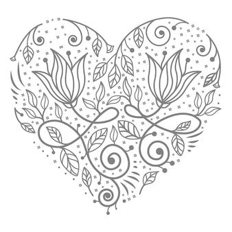Koncepcja dekoracyjna ilustracja kwiatowy serce na abstrakcyjne