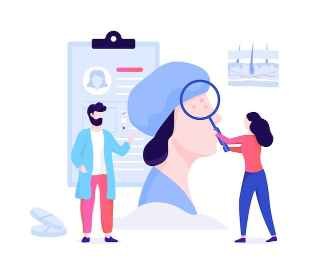 Koncepcja dermatologa. specjalista dermatolog, zabiegi na skórę twarzy. idea piękna i zdrowia. schemat naskórka skóry. ilustracja