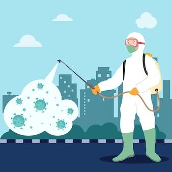 Koncepcja dezynfekcji wirusów. mężczyzna w białym kombinezonie przeciwmgielnym oczyszczającym miasto z wirusa korony