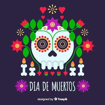 Koncepcja día de muertos z płaskim tle