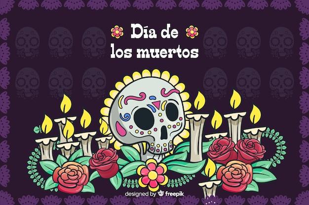 Koncepcja día de muertos z ręcznie rysowane tła