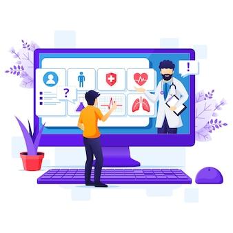Koncepcja diagnostyki medycznej online, ilustracja pomocy medycznej online