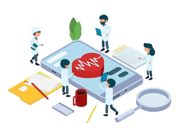 Koncepcja diagnozy online. ilustracja wektorowa izometryczny zespół medyczny. lekarze i serce, aplikacja opieki zdrowotnej na smartfony. diagnoza konsultacja smartfona, komunikacja z lekarzem