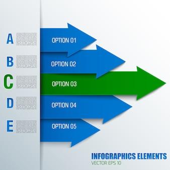 Koncepcja diagramu strzałki biznesowej z ponumerowanymi polami tekstowymi w kolorach niebieskim i zielonym
