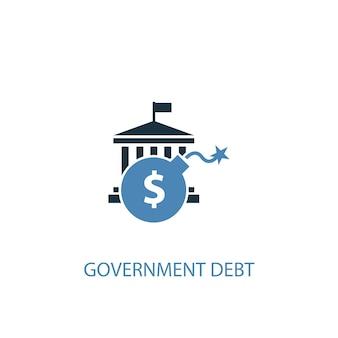 Koncepcja długu publicznego 2 kolorowa ikona. prosta ilustracja niebieski element. projekt symbolu koncepcji długu publicznego. może być używany do internetowego i mobilnego interfejsu użytkownika/ux