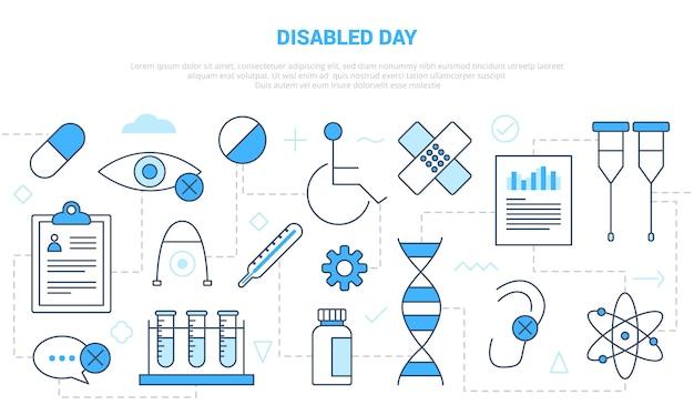 Koncepcja dnia dla niepełnosprawnych z banerem szablonu zestawu ikon w nowoczesnym stylu niebieskim