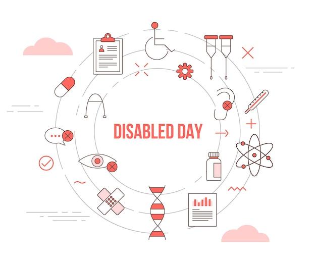Koncepcja dnia dla niepełnosprawnych z banerem szablonu zestawu ikon