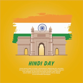 Koncepcja Dnia Hindi Darmowych Wektorów