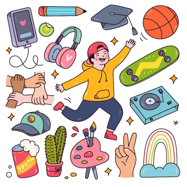 Koncepcja dnia młodzieży doodle szczęśliwa nastolatka z ich hobby i sprzętem