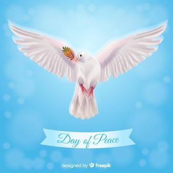 Koncepcja dnia pokoju z realistyczną gołębicą